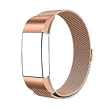 """Dailylux Fitbit Charge 2 Bands Metal, Milanese Loop Stainless Steel Replacement Wristbands Bracelet with Unique Magnet Lock Small Bands ( 5.5""""-8.8"""") for Fitbit Charge 2,Silver,Rose Gold,Black"""