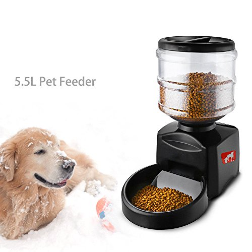 GADE10 5.5L Automatic Pet Feeder,Dog Programmable Animal Food Bowl Timed Auto Dispenser-For Cats and Dogs