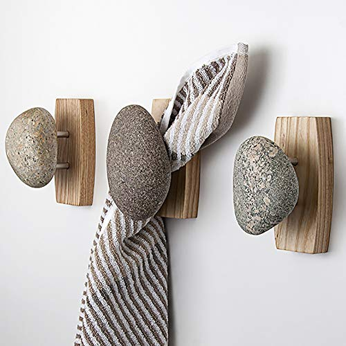 Sea Stones Coast Hook - Coat Hook - Hand Selected, Natural Stone Wall Hook with Elegant Wooden Backplate - Hang Your Coats, Towels, Robes & More with Both Indoors & Outdoor Uses (3 Pack, Ash)