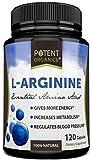 L-Arginine Essential Amino Acid 120 Vegetarian Capsules - For Muscle, Heart and Energy!
