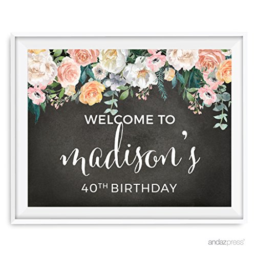 Andaz Press Peach Chalkboard Floral Garden Party Birthday Collection, Personalized Party Signs, Welcome to Madison's 40th Birthday Sign, 8.5x11-inch, 1-Pack, Custom Made Any Name