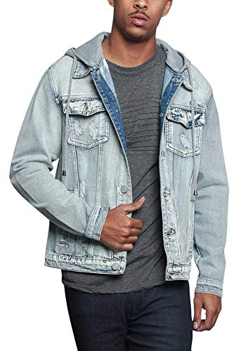 Men/'s Detachable Hood Layered Look  Distressed  Jean  Denim Jacket    DK140-GG8C
