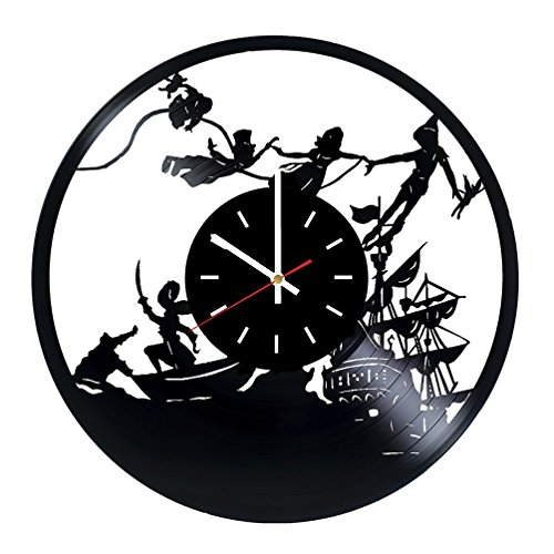 Peter Pan Vinyl Record Wall Clock - Home Room wall decor - Gift ideas for children, kids - Funny Cartoon Unique Art Design by choma
