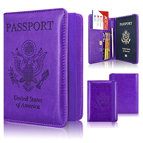 Passport Holder Cover, ACdream Travel Leather RFID Blocking Case Wallet for Passport with Elastic Band Closure, Purple