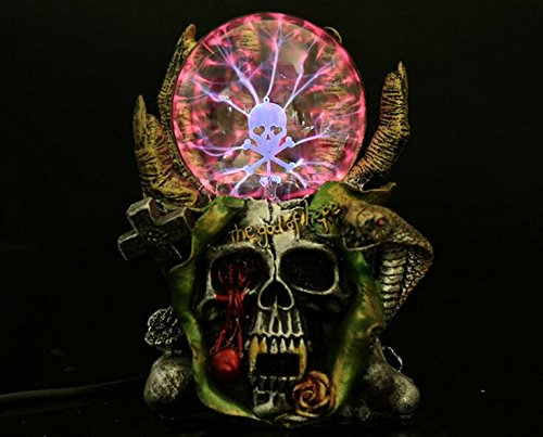 Halloween Plasma Skull Ball Light , Skull Ornaments Resin Home Decoration, Magic Crystal Lamp Globe Desktop Kids Child Party Decorative Plasma Light -