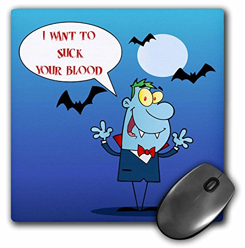 Dooni Designs Halloween Designs - Funny Vampire and Bats I Want To Suck Your Blood Fantasy Monster Halloween Cartoon Design - MousePad (mp_153716_1)