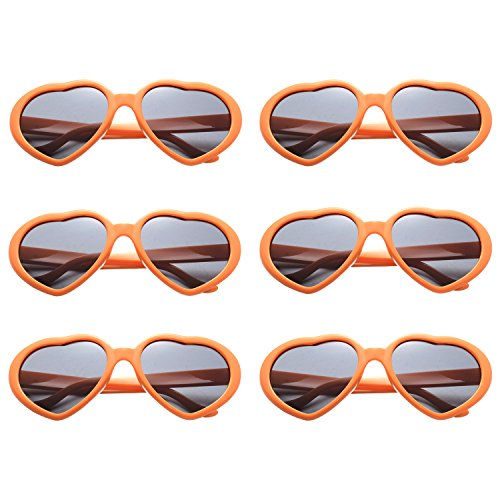 OAONNEA 6 Pack Neon Colors Heart Shape Sunglasses