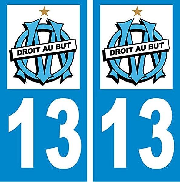 Youdesign - Pegatinas de matrícula del equipo de fútbol francés Olympique de Marseille (2 unidades): Amazon.es: Hogar
