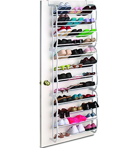36 Pair Over The Door Metal And Plastic Shoe Rack (White) (23.75u0026quot;