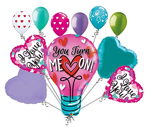 11 pc You Turn Me On Light Bulb Valentines Day Balloon Bouquet Love You Kiss Hug Day Balloon Bouquet