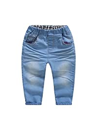 Kidscool Summer Baby Girls Elastic Waist Stone Washed Jeans