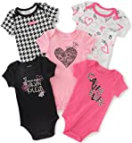 Calvin Klein Baby Girls' Assorted Short Sleeve Bodysuit, Pink/Black, 6-9 Months (Pack of 5)