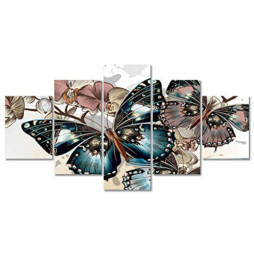 Abstract Butterfly Flower Canvas Wall Art Vivid Colorful Prints Home Decor Pictures 5 Panels Posters for Bedroom Living Room Printed Painting Artwork Framed Ready to Hang (50