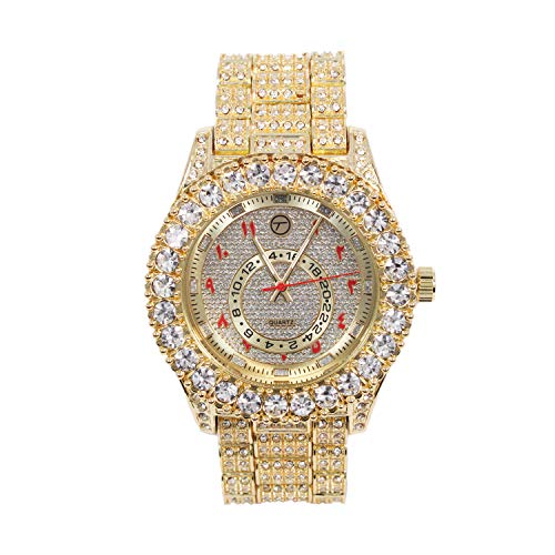 Mens Classic Bling-ed Out Arabic Dial Gold and Red Watch with Simulated Lab Diamonds | Japan Movement