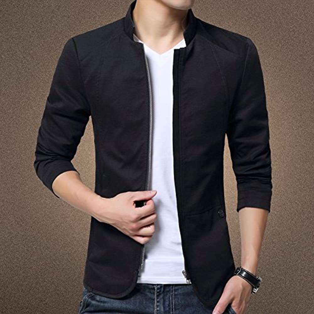 Jiebai Mens Vintage Chinese Style Slim Long Sleeve Stand Collar Button Jacket