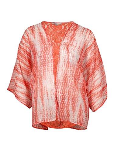 Raviya Striped Tie Dye Crochet Back Kimono Bathing Suit Cover Up Coral Small/Medium