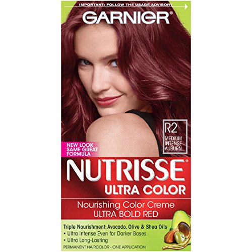 Garnier Nutrisse Ultra Color Nourishing Permanent Hair Color Cream, R2 Medium Intense Auburn (1 Kit) Red Hair Dye (Packaging May Vary)