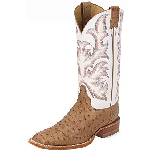 Justin Boots Men#039s Remuda Antique Tan Vintage Full Quill Ostrich/White Jurassic Cowhide 105 D US