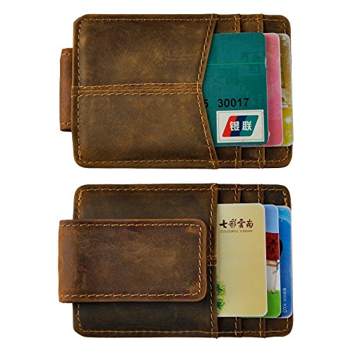 Le'aokuu Mens Rfid Money Clip Slim Wallet Genuine Leather Cowhide Credit Card Case Handy Magnet (A Dark Brown Rfid)