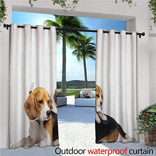 Beagle Fashions Drape Cute Family with Mother and Baby Puppy Domestic Fur Animal Photography Outdoor Curtain Waterproof Rustproof Grommet Drape W84 x L96 Pale Caramel White Black