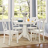 Beautiful 5-Piece Traditional Height Pedestal Dining Set, Multiple Colours, Traditional With a Modern Twist, Round Pedestal Table, 4 Napoleon-Style Chairs, Comfortably Seats Four People