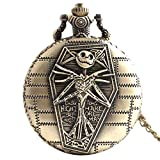Fashion Style Skull Head Cool Unique Locket Necklace Pocket Watch Round Shape