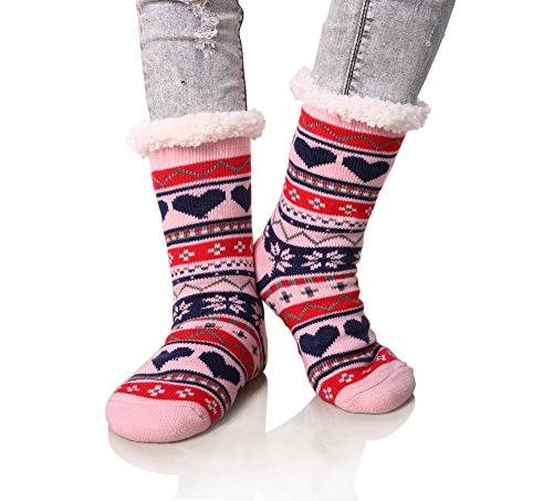 Dosoni Women's Snowflake Fleece Lining Knit Christmas Knee Highs Stockings Slipper Socks (Pink)
