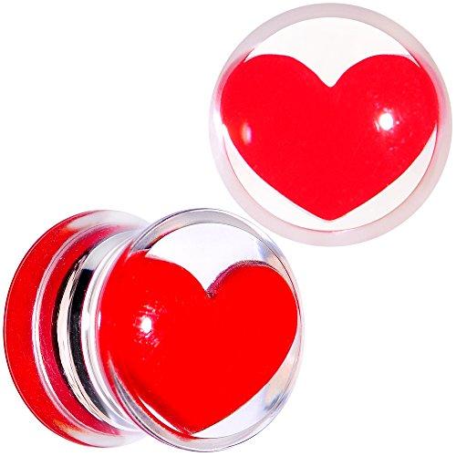 Body Candy Acrylic Clear Red Heart Saddle Ear Gauge Plug Set 00 Gauge