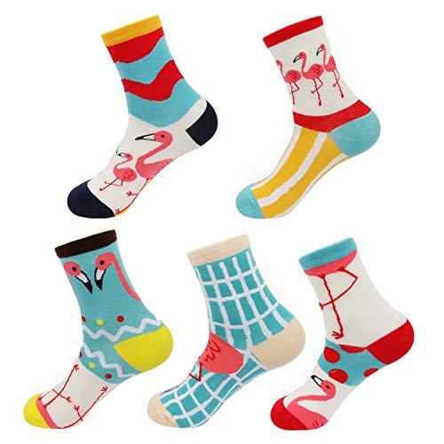 Ivysan Women's Cute Cartoon Animal Cotton Crew Socks,Funny Flamingo Printed Athletic Socks for Girls,5 Pairs (IMAGE 3) (Pattern Casual Cartoon)