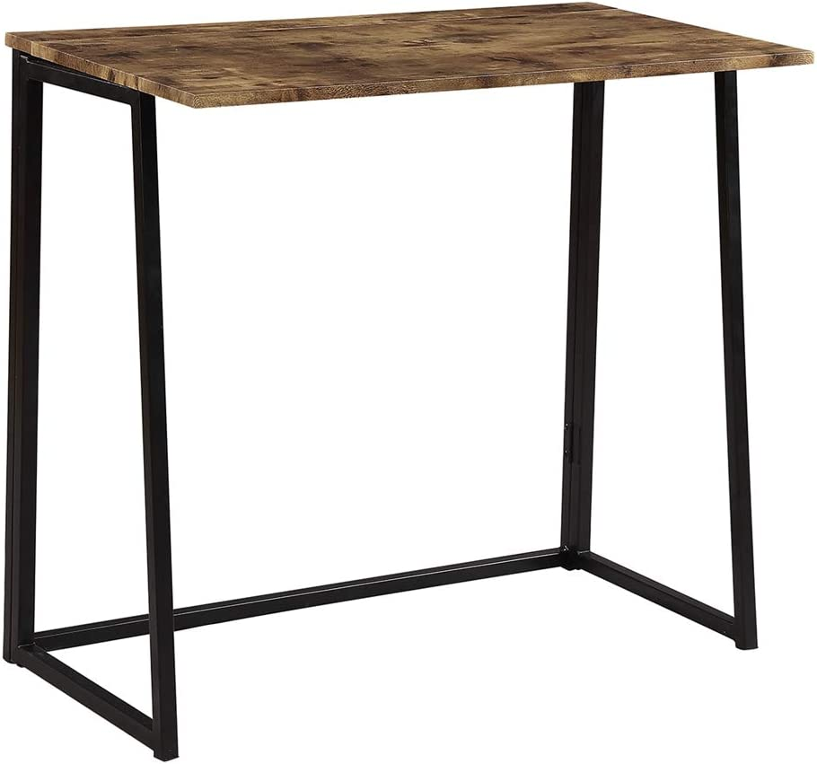 ZXCVD Foldable Desk Study Desk Folding Computer Desk with Industrial Style Folding Laptop Table for Small Space Offices No-Assembly Small Computer Desk, Brown Desktop Black Frame