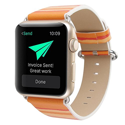 Price comparison product image Kobwa 38MM/42MM Band for Apple Watch, Original Women Wristbands Genuine Leather Strap Colorful Rainbow Watchbands Replacement Bracelet for IWatch IPhone Watch Series 2 Series 1