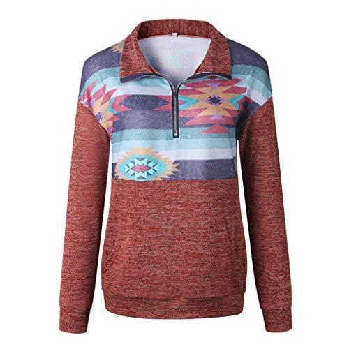 Chemisier clair Longue Imprimer Shirt Bringbring Manche Femme Sweat Fermeture Mode Tops Rouge 8nzqA6O