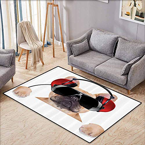 Door Rug Increase Popstar Party Dj Bulldog with Headphones Listening to Music Behind White Banner Light Brown Black Red Hard and wear Resistant W5'9 xL4'9