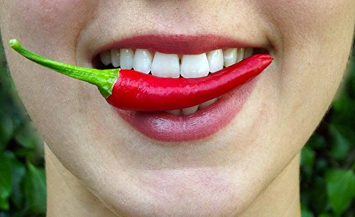 Laminated 39x24 inches Poster: Chilli Bite Hot Lips Mouth Eat Spicy Fresh Healthy Food Girl Delicious Pepper Woman Vegetable Snack Mexican - Bites Chilli