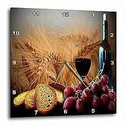 3dRose DPP_14294_2 Wine Bread Grapes Wall Clock, 13 by 13-Inch