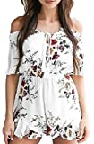 JCTTrading Women's Off Shoulder Sexy Floral Print Romper Jumpsuits for Women (XL, White)