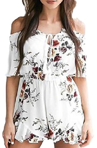 JCTTrading Women's Off Shoulder Sexy Floral Print Romper Jumpsuits for Women (XL, White) by JCTTrading