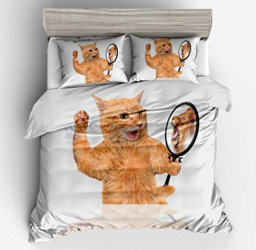 Gorgeous who am I Cat or Lion Cotton Microfiber 3pc 104''x90'' Bedding Quilt Duvet Cover Sets 2 Pillow Cases King Size by DIY Duvetcover