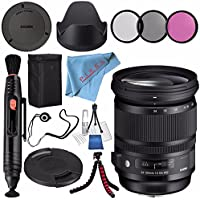 Sigma 24-105mm f/4 DG OS HSM Art Lens for Sony A #635205 + 82mm 3 Piece Filter Kit + Lens Pen Cleaner + Fibercloth + Lens Capkeeper + Deluxe Cleaning Kit + Flexible Tripod Bundle