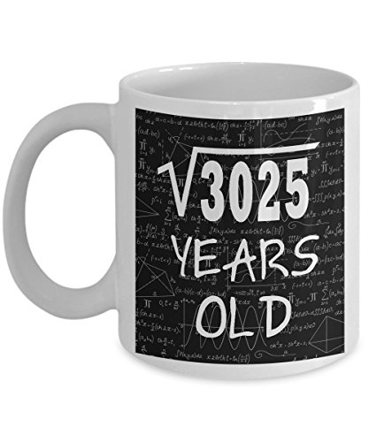 Math Formula Mug 11 OZ - Funny Math Gifts For Teachers, Students - Square Root Of 3025-1963, 55 Years Old Birthday - 55th Birthday Gifts For Women Funny, Her, Mom On Mother's Day - Ceramic White