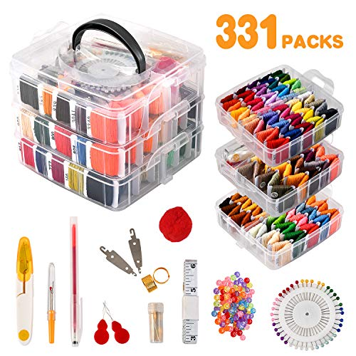 Rdutuok 331 Pack Embroidery Floss Bracelets Set 150 Colors Cross Stitch for Bracelets,100Pcs Letter Beads,81Pcs Cross Stitch Tools Threads Supplies Tools and 3-Tier Box for Storage