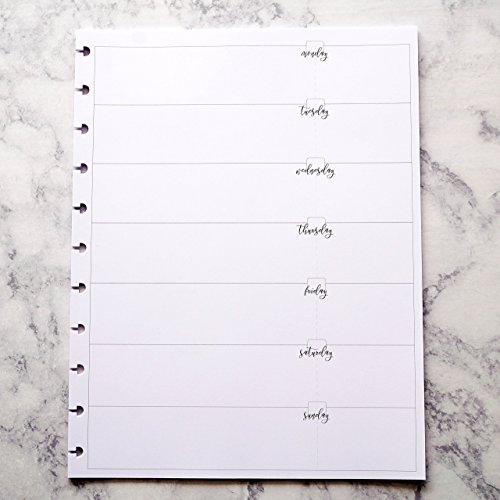 Undated Weekly Planner Insert for Discbound Staples Arc TUL Big Happy Planner | Letter Size