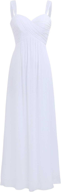 TALLA 44. Freebily Vestido Largo de Fiesta Cóctel Boda para Mujer Dama de Honor Vestido Noche Elegante de Tirantes Blanco 44