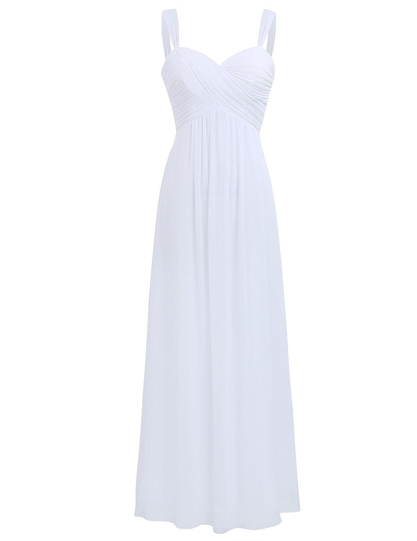 TALLA 46. Freebily Vestido Largo de Fiesta Cóctel Boda para Mujer Dama de Honor Vestido Noche Elegante de Tirantes Blanco 46