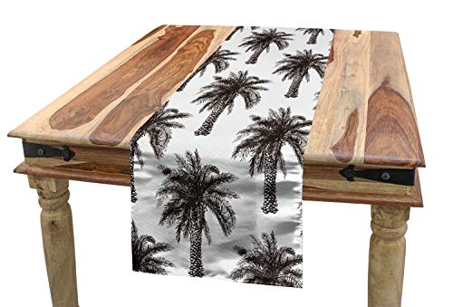 Ambesonne Palm Tree Table Runner, Fully Grown Coconut Banana Trees with Retro Effect Lush Forest Foliage, Dining Room Kitchen Rectangular Runner, 16