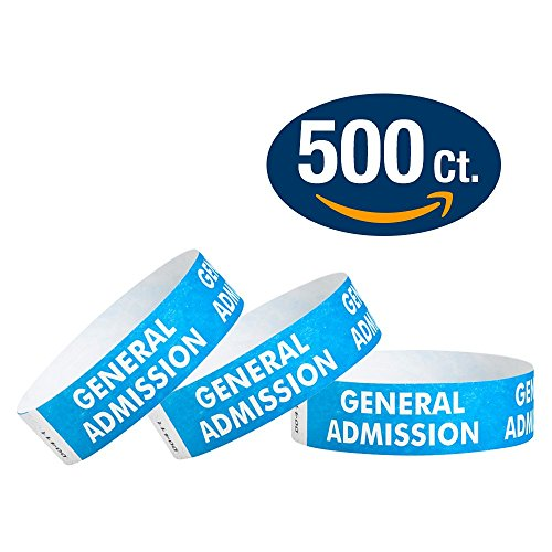 "WristCo Blue General Admission 3/4"" Tyvek Wristbands - 500 Pack Paper Wristbands For Events"