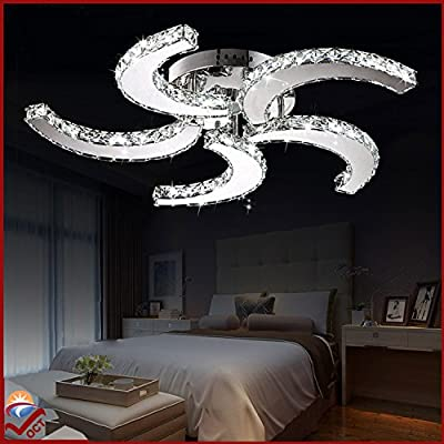OCT® Original Modern Luxury Crystal Chandelier 110v Ceiling Fan Style Ceiling Lights Nordic Indoor Led Pendant Fan Lights Ceiling Lamps Living Room Ceiling Lamps (40 Watts)