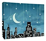 """JP London MCNV2131 Sinatra Mad Men Twilight Fly Me To The Moon Skyline 2"""" Thick Heavyweight Gallery Wrap Canvas, 3' x 2'"""
