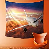 AuraiseHome Wall Decor Tapestries commercial airplane flying above clouds in dramatic sunset light Tapestry Coverlet Curtain32W x 32L Inch