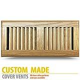 Prefinished Oak Wood Floor Register, 6x12 Inch Duct Opening Measurements, Classic Metal Adjustable Damper.